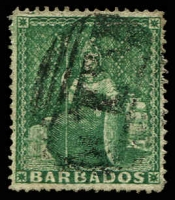 Lot 19341:1861 Britannia Clean-Cut Perf 14-16 SG #17 (½d) deep green, Cat £22.