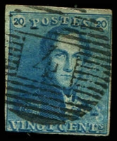 Lot 3725:1849 Epaulettes SG #2a 20c blue 4 close margins, Cat £80, cancelled with 18-bar '4' of Anvers.