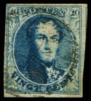 Lot 3731:1851 Medallions Wmk LL Without Frame SG #7 20c blue 4 close margins, Cat £11.50.
