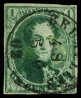 Lot 3596:1861 Medallions No Wmk 17½mm Oval SG #12 1c green 4 close margins, Cat £180.