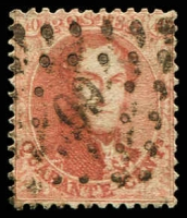 Lot 19322:1863-65 Medallions NoWmk Perf 12½x12½-13½ SG #23 40c carmine-rose, Cat £39, cancelled with points '60'.