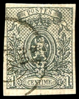 Lot 3748:1866-67 Small Lion, Imperf SG #39 1c grey 4-margins, Cat £225.