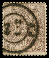 Lot 3750:1866-67 Small Lion, Perf 14½x14 SG #42 5c brown, Cat £130.