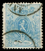 Lot 3749:1866-67 Small Lion, Perf 14½x14 SG #41 2c blue, Cat £140.