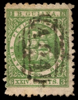 Lot 3168:1863-76 Medium Paper Perf 10 SG #103 24c yellow-green, cancelled with 'A04' of New Amsterdam.