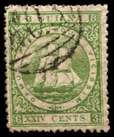 Lot 3725:1863-76 Medium Paper Perf 12½-13 SG #79 24c yellow-green P12½-13, Cat £13.