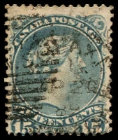 Lot 3764:1868-90 Large Heads Montreal Printing Medium to Stout Wove Paper Perf 12 SG #69 15c slaty blue, Cat £32.