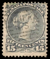 Lot 3213:1868-90 Large Heads Montreal Printing Medium to Stout Wove Paper Perf 12 SG #68 15c deep slate, Cat £32.