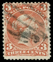 Lot 3428:1868-90 Large Heads Ottawa Printing Medium to Stout Wove Paper SG #58 3c brown-red, Cat £25.