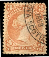 Lot 3761:1868-90 Large Heads Ottawa Printing Thin Transparent Paper SG #49 3c red-brown, Cat £38.