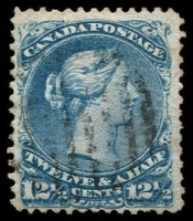 Lot 3589:1868-90 Large Heads Ottawa Printing Thin Transparent Paper SG #51 12½c bright blue, Cat £130.