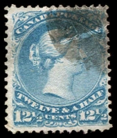Lot 3211:1868-90 Large Heads Ottawa Printing Thin Transparent Paper SG #51 12½c bright blue, Cat £130.