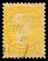 Lot 3765:1870-91 Small Heads Ottawa & Montreal Printings Perf 12 SG #75 1c bright yellow.