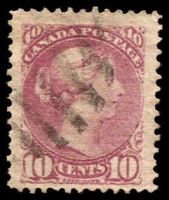 Lot 3215:1870-91 Small Heads Ottawa & Montreal Printings Perf 12 SG #88 10c deep lilac-magenta, Cat £65