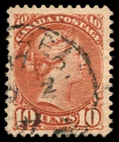 Lot 20323:1889-97 Small Heads Ottawa Printing Thin Poor Quality Paper SG #111 10c brownish red, Cat £42.