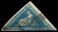 Lot 19936:1855-63 Perkins Bacon Triangles SG #6a 4d blue, 2½-margins, Cat £90.
