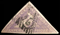 Lot 3235:1855-63 Perkins Bacon Triangles SG #7b 6d deep rose-lilac, 3-margins, Cat £400.