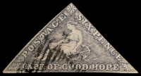 Lot 3792:1855-63 Perkins Bacon Triangles SG #7c 6d slate-lilac, 2-margins, Cat £500.