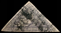 Lot 3236:1855-63 Perkins Bacon Triangles SG #7d 6d slate-purple, 3-margins, Cat £1,000.