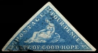 Lot 3436:1855-63 Triangles Perkins Bacon Printing SG #6a 4d blue, 3 margins, Cat £90.
