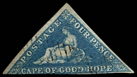 Lot 3437:1855-63 Triangles Perkins Bacon Printing SG #6a 4d blue, 2½-margins, Cat £90.