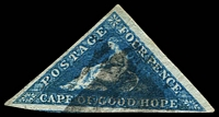 Lot 19935:1855-63 Triangles Perkins Bacon Printing SG #6a 4d blue, 3 good margin, Cat £90.