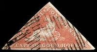 Lot 3232:1855 Perkins Bacon Triangles Paper Deeply Blued SG #1a 1d pale brick-red, 3-margins, Cat £475.