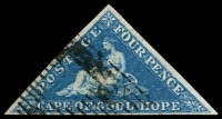 Lot 3791:1855 Perkins Bacon Triangles Paper Deeply Blued SG #2 4d deep blue, 3-margins, Cat £275.