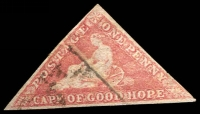 Lot 3238:1863-64 DLR Triangles SG #18c 1d brownish red 3-margins, crease, Cat £325.