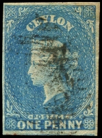 Lot 3800:1857-59 Imperf Chalon Wmk Star SG #2 2d deep turquoise-blue, 4-margins, Cat £45.