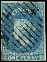 Lot 3245:1857-59 Imperf Chalon Wmk Star SG #2a 2d blue, 4-margins, Cat £80.