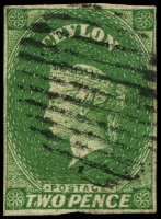 Lot 20570:1857-59 Imperf Chalon Wmk Star SG #3a 3d yellow-green, 4-margins, Cat £90. RPSL cert (1970) for the then SG #8.