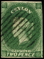 Lot 3246:1857-59 Imperf Chalon Wmk Star SG #3 3d green (deep), 4 close margins, Cat £65.