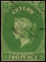 Lot 3247:1857-59 Imperf Chalon Wmk Star SG #3a 3d yellowish green, 4-margins, Cat £90.