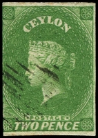 Lot 18166:1857-59 Imperf Chalon Wmk Star SG #3a 3d yellowish green, 3-margins, Cat £90.