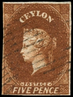 Lot 3248:1857-59 Imperf Chalon Wmk Star SG #5 5d chestnut, 4-margins, Cat £150.