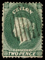 Lot 3802:1863-66 Wmk Crown/CC (Oval) Perf 12½ SG #50 2d grey-green, Cat £15.