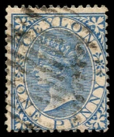 Lot 3250:1866-68 Wmk Crown/CC Perf 14 SG #61 1d blue, Cat £13.