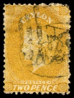 Lot 3803:1867-70 Wmk Crown/CC (Round) Perf 12½ SG #64d 2d yellow.