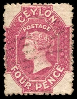 Lot 3251:1867-70 Wmk Crown/CC (Round) Perf 12½ SG #65b 4d rose-carmine, Cat £55