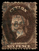 Lot 20576:1867-70 Wmk Crown/CC (Round) Perf 12½ SG #67b 6d blackish brown