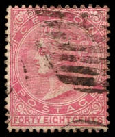 Lot 3805:1872-80 New Currency Wmk Crown/CC Perf 14 SG #130 48c rose.