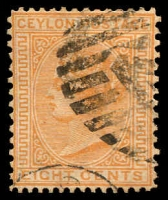 Lot 3253:1872-80 New Currency Wmk Crown/CC Perf 14x12½ SG #135 8d orange-yellow, Cat £55.