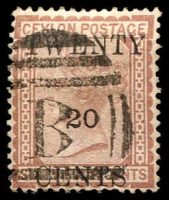 Lot 3806:1882 Surcharges SG #143 20c on 64c red-brown.