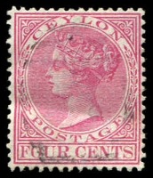 Lot 3453:1883-98 Wmk Crown/CA Perf 14 SG #149 4c rose, Cat £13.