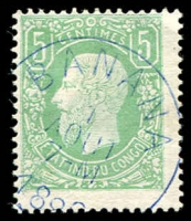Lot 3847:1866 Leopold SG #1 5c green, fine blue 'BANANA/1/AOUT/7-M/188?