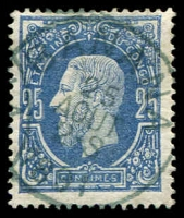 Lot 3849:1866 Leopold SG #3 25c blue, Cat £65.