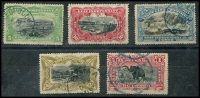 Lot 21240:1900-01 Pictorials SG #30-4 5c to 1f, Cat £40. (5)