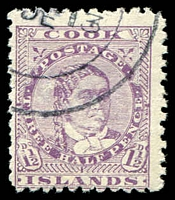 Lot 3638:1893-1900 Queen Makea Wmk 12b Perf 11 SG #14 1½d deep lilac