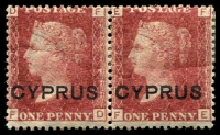 Lot 3387:1880 Overprints SG #2 1d red pair plate 215 [FD-FE], Cat £44.